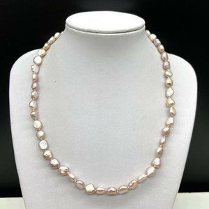 Pink Freshwater Pearl Beaded Necklace Sterling